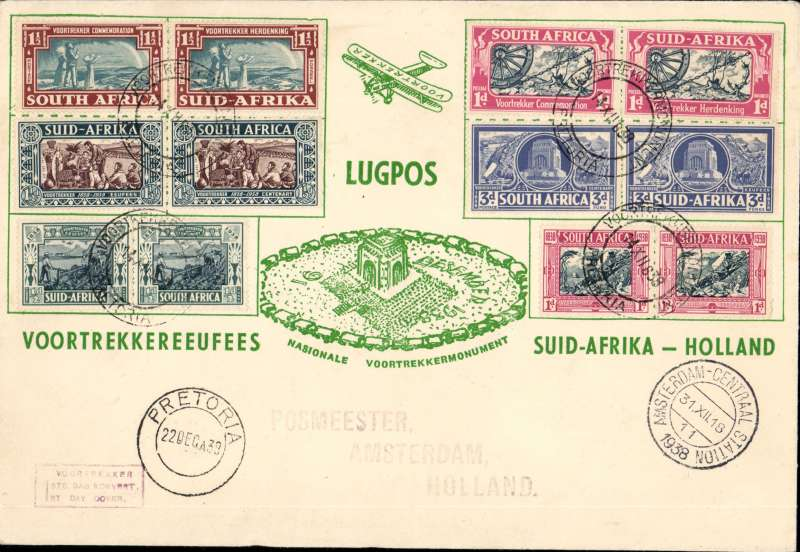 (South Africa) Pretoria to Amsterdam 31/12, attractive Voortrekker 'Lugpos' souvenir cover 19x14cm, franked bilingual pair of the Voortrekker Centenary, and Memorial Fund sets (12 stamps)