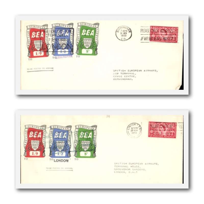 (GB Internal) BEA Helicopter, London to Birmingham, and Birmingham to London, POA, franked set of 3 BEA labels printed in shield format, fine with official flight cachets