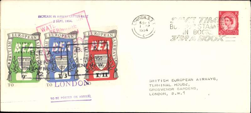 (GB Internal) British European Airways, fifth issue, 1st September 1954, cover flown from Glasgow to London bearing the set of 3 air letter stamps with revised values.