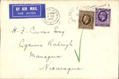 (GB External) London to Nicaragua, first day of accelerated service increasing previous transit time by 9 days,  airmail etiquette tied Nottingham cds, correctly rated 1.3d for new service, bs Managua 17/10,