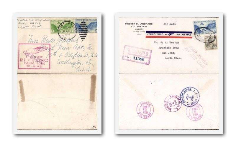 (Collections) Canal Zone airmails (2), 1937 F/F 12 Hour Service Canal Zone to Miami, scarce, and 1938 registered airmail to Costa Rica, bs San Jose.