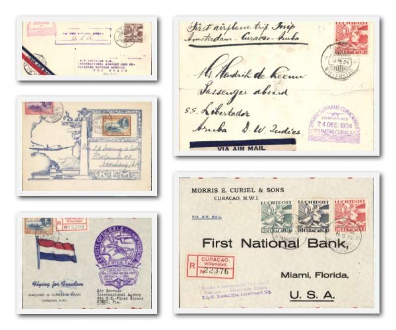 (Collections) Netherlands Antilles, five F/F's, 1933 Aruba-Curacao;1934 Curacao-Aruba (ironed horizontal fold);1938 Aruba-Miami;1943 Curacao-Miami,1946 Curacao-Amsterdam. All fine and cacheted, see scan.
