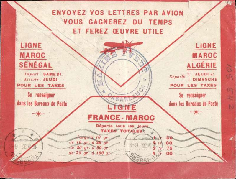 (Scarce and Unusual Routings) Casablanca to Tonsberg, Norway,bs 16/4, cream/red border Latecoere cover franked 2.50F, canc Casablanca cds, typed 'Par Avion de Casablanca a Toulouse'. strong vertical crease causing closed tear at top, see scan.