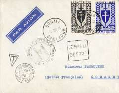 (French Cameroons) Douala to Conkary, 28/7 arrival cds on front, imprint etiquette cover franked 4f50, 'Je Fais La/Guerre' hs on front and 'Un Seul/But/La/Victoire (one goal victory) hs verso. Likely carried by Sabena from Leopoldville to Lagos, then BOAC or sea to UK. Between August 1940  and the summer of 1943 , the heart of Free France was located, not in London, but in Chad, Cameroon, or Oubangui-Chari (modern-day Central African Republic).