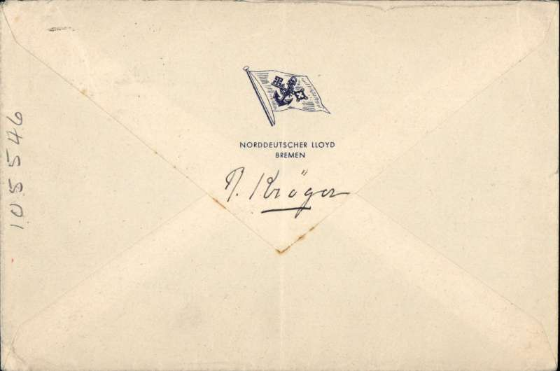 "(Ship to Shore) Bremen to Southampton, German seapost, North German Lloyd Bremen cover franked 50pfg,  green flight cachet, also  red boxed  hs ""Mit Vorausflug nach Southampton"" onward transmission to UK, Ref K242 Graue and Leder. Ironed vertical crease, see scan."