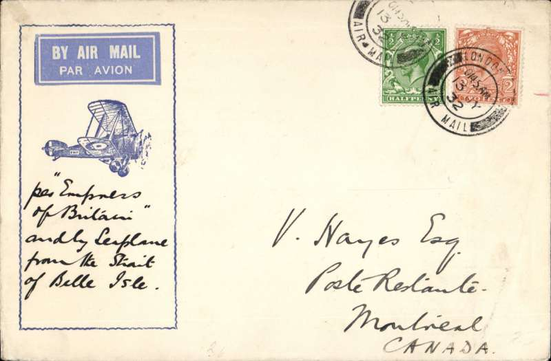 "(GB External) The St. Lawrence Seaway Airmail Service, Imperial Airways service for the Ottawa Conference, attractive red/white/blue Philatelic Magazine cover, franked 2 1/2d, London to Ottawa, bs 18/7, carried by from London to Cherbourg by Imperial Airways plane ""Wessex""; Cherbourg to Red Bay by the ""Empress of Britain""; Red Bay to Havre by hydravion 'Bellanca'; Havre to Rimouski by flying boat, and Rimouski to Ottawa 'par avion Fairchild. Reduced normal sea voyage time by 1/3rd.  See Newall 32.17."
