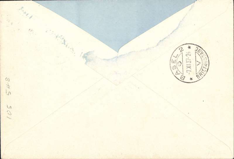 (Switzerland) Swiss Automobile Post Office registered (label) cover franked 1.45F airs + 43c ordinary, cancelled with fine 'Schweiz Automobile Post Bureau cds, blue/black trilingual 'Par Avion' etiquette. Sent from Thun to Basel, bs 7/11. Cover flap removed, otherwise very fine.