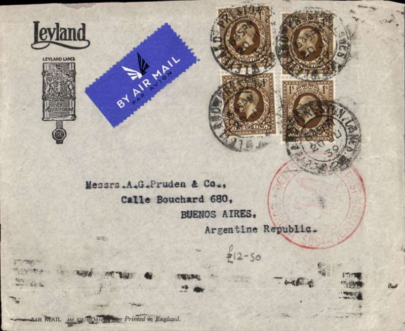 (GB External) London to Buenos Aires, bs 25/7, 'Leyland' airmail corner cover, correctly rated 4/- , red circular German 'Europa-Sud Amerika' flight cachet on front.