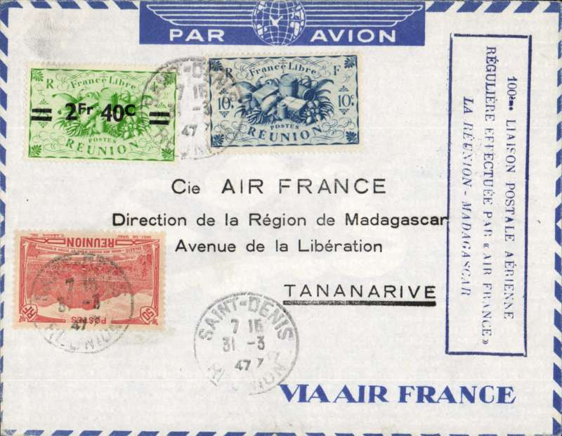 (French Reunion) 100th airmail flight, St Dennis to Tananarive, special cachet, b/s. Air France.