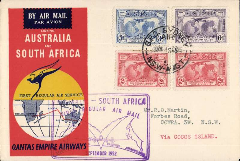(Australia) F/F Sydney-Cocos Islands, bs, franked Kingsford Smith set of 3, and extra KS 2d.