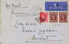 (GB External) London to Romania, bs Buchares 28/5, airmail etiquette cover mixed two reign franking, 1d KEVIII and GV 1 1/2d x2, ms 'Air Mail/Roumania'.