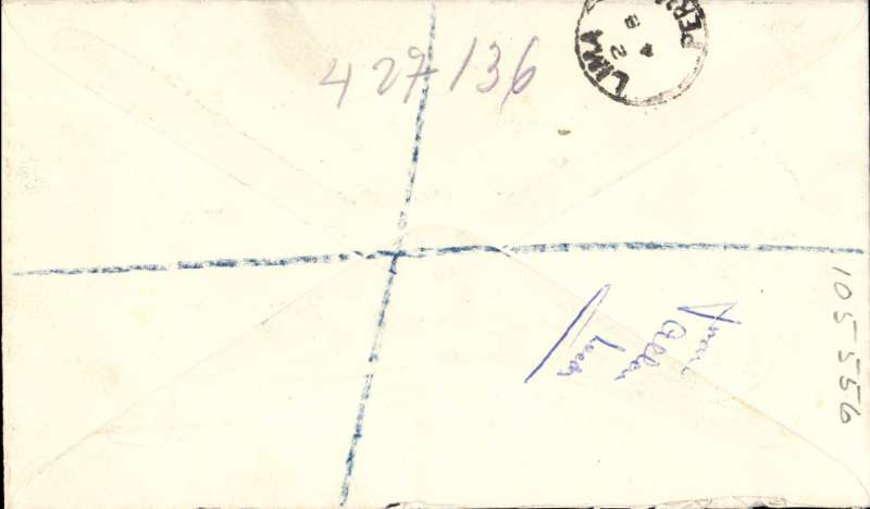 (GB External) GB to Peru, bs Lima 4/8, registered label cover franked FDI Olympic set of 4, canc Horseforth cds.