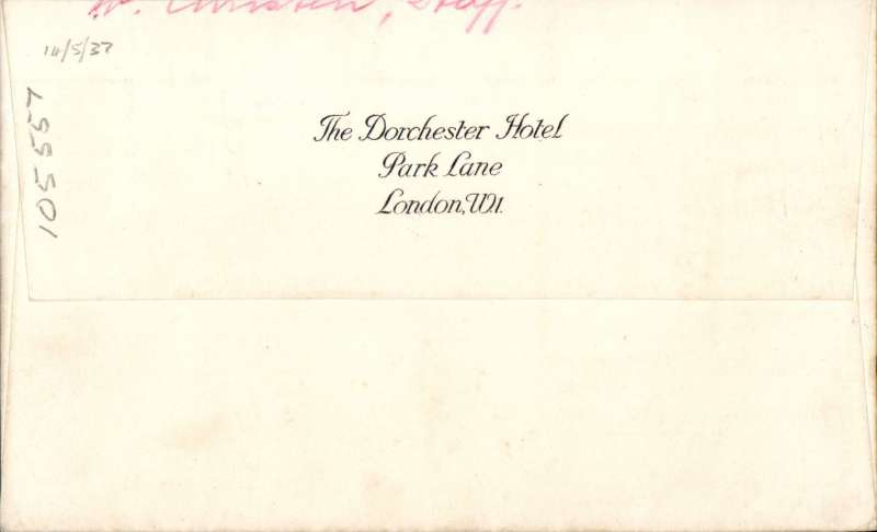 (GB External) Dorchester Hotel cover, London to Switzerland, franked THREE REIGNS 2 1/2d KGV, KGVI and EVIII, and block of four Coronation 1 1/d, etiquette.