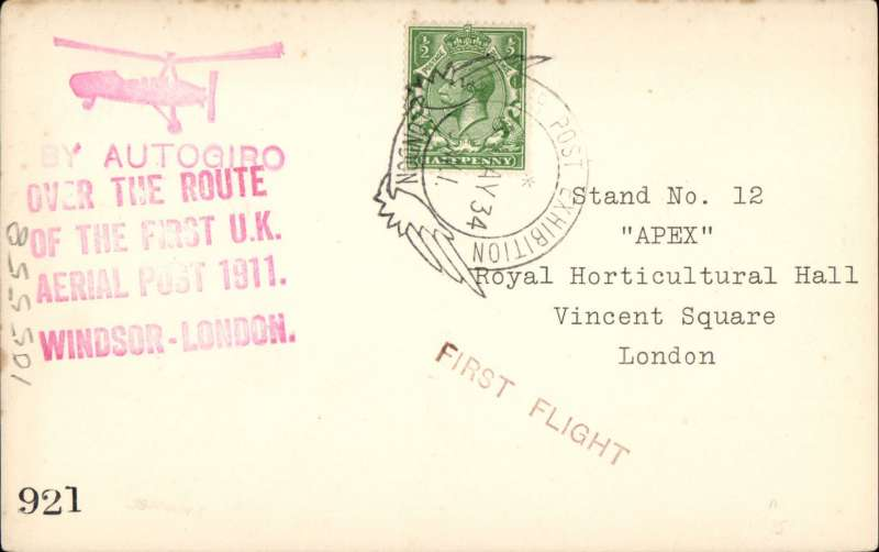 "(GB Internal) Apex International Air Post Exhibition, special souvenir PPC with drawing of  autogiro, black imprint Exhibition vignette and blue ""By Autogiro"" label, flown by autogyro from Windsor to London, then posted at the Exhibition Post Office, franked 1 1/2d canc official Exhibition postmark 8 May 34, red 'Apex 1934/London 7-12 May' cachet, and large ""By Autogiro/Over the Route/of the First UK/Aerial Post 1911/Windsor London""."