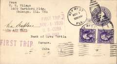 "(United States Internal) F/F FAM 4, Key West to Havana, bs 1/11, 3c PSE with additional 2x3c, boxed violet 'First Trip/Nov 1 1920/US-Cuba/Air Mail' cachet and straight line ""First Trip"" hs,  Florida and West Indies Airways. Scarce."
