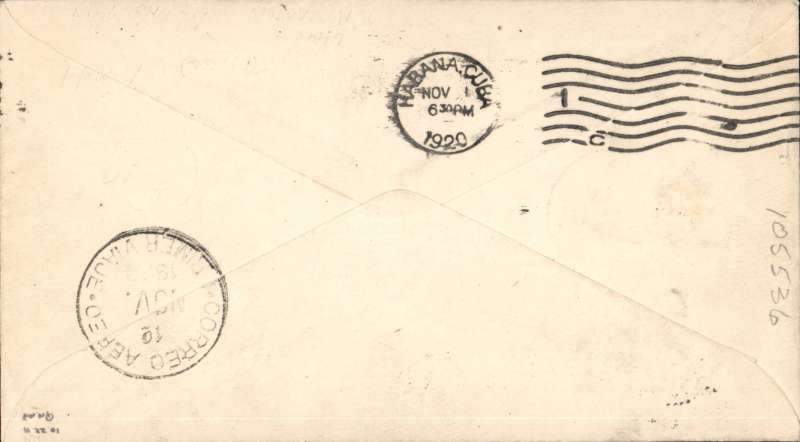 """(United States Internal) F/F FAM 4, Key West to Havana, bs 1/11, 3c PSE with additional 2x3c, boxed violet 'First Trip/Nov 1 1920/US-Cuba/Air Mail' cachet and straight line """"First Trip"""" hs,  Florida and West Indies Airways. Scarce."""