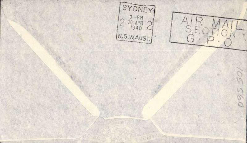 """(New Zealand) Auckland-Sydney, bs  30/4,carried on the inaugural flight by flying boat """"Aotearoa"""", large rect. cachet, souvenir cover with imprint photo of plane, TEAW. Service suspended in June 1940 when Italy joined the war."""