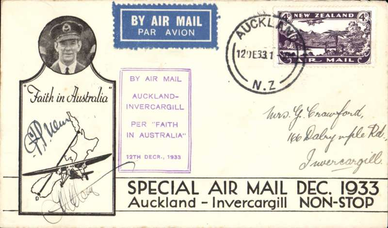 (New Zealand) First Non Stop Auckland to Invercargill, bs 12/12,  printed black/white souvenir cover with CTP Ulm inset,  franked 4d, violet boxed cachet, signed by the pilot G.U.Allan and C.T.P. Ulm..