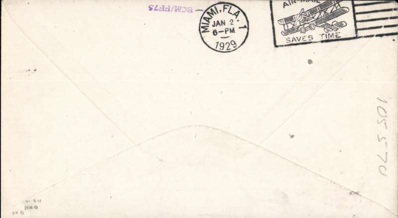 (Bahamas) F/F, Nassau-Miami, bs 2/1, cover franked 1d, red two line cachet 'By First Air Mail/To Miami' cachet, Pan Am. Image.