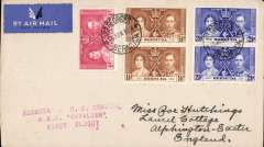 "(Bermuda) F/F Hamilton to New York, voer franked 9d Coronation stamps, red three line "" Bermuda to US Service RMA Cavalier First Flight"" cachet, b/s, Imperial Airways"