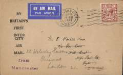 (GB Internal) RAS F/F Manchester to the Isle of Wight, uncommon 'By Britain's First Inter City Airmail' cover franked 1 1/2d, canc Manchester 20 Aug cds, overstamped by IOW arrival cds, See scan.