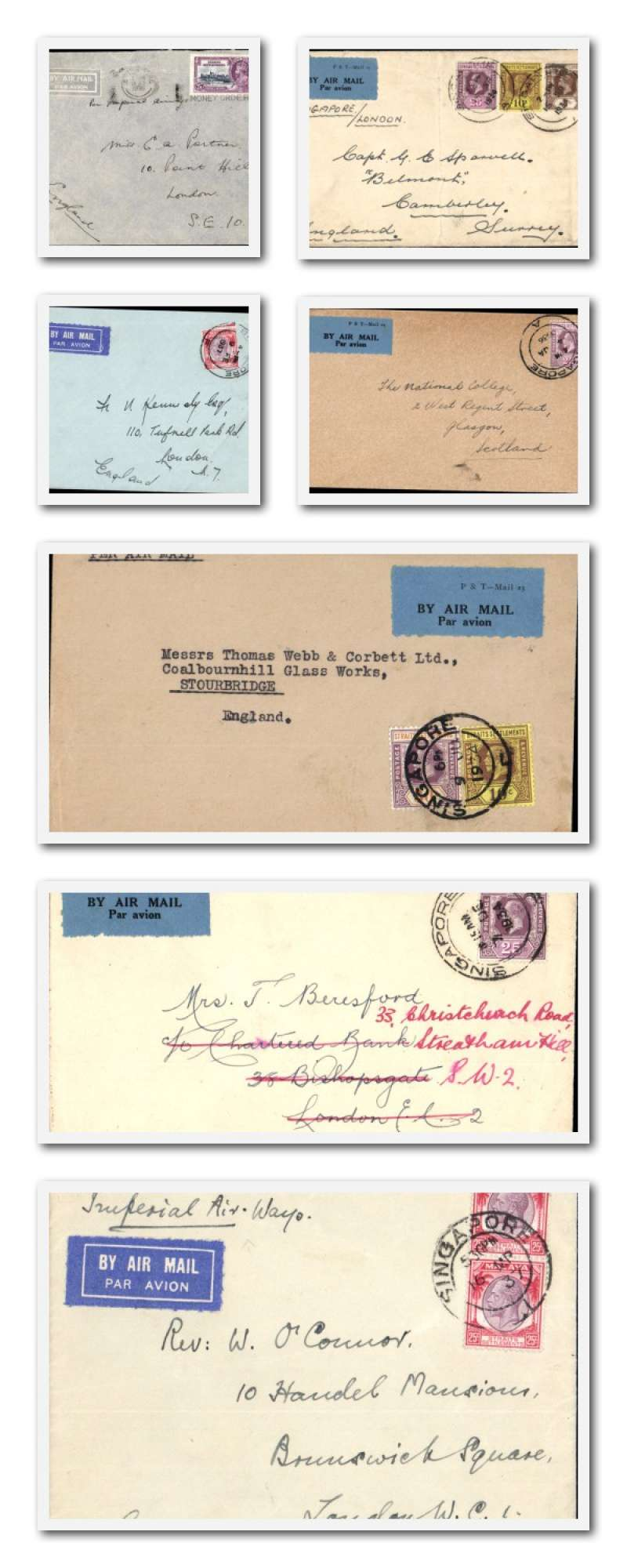 (Collections) Singapore to London, collection of seven commercial airmail covers 1934-37, six to London, one to Scotland, most 25c frankings, one 50c double rate. Good for tracking IAW departure dates, flight numbers, names of airplanes on various legs, and any delays, ref  'Wingent Aircraft Movements on IAW Eastern Route 1927-37'