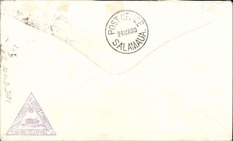 (New Zealand) First New Zealand acceptance via Sydney and Port Moresby for Salamaua, left Wellington 2/3 and connected with the Australian mail at Sydney 3/3 thence to Brisbane where it was forwarded by mail steamer to Port Moresby, the on arrival loaded aboard a Guinea Airways Ltd plane for Salamaua.  Airmail etiquette cover franked 1d NZ stamp canc 'Wellington NZ/FMB/2 Mar 1933' and 2d Australian stamp canc 'Air Mail Sydney NSW/7 MR 33', bs 24/3, NZAMS expertisation hs verso. For detailed description see Walker, Vol 2.