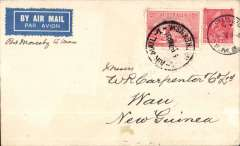 "(New Zealand) First New Zealand acceptance via Sydney and Port Moresby for Wau, left Wellington 2/3 and connected with the Australian mail at Sydney 3/3 thence to Brisbane where it was forwarded by mail steamer to Port Moresby, the on arrival loaded aboard a Guinea Airways Ltd plane for Salamaua.  Airmail etiquette cover franked 1d NZ stamp canc 'Wellington NZ/FMB/2 Mar 1933' and 2d Australian stamp canc 'Air Mail Sydney NSW/7 MR 33', NZAMS expertisation hs verso. ""Mail for Wau did not receive a backstamp"", Walker, Vol 2, and also for detailed description.."
