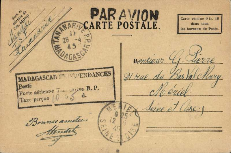 (Madagascar) Boxed Poste aerienne/Tax Percue/ms 10F 5d stampless PC, Tananarive to Meriel, France 12/5 arrival cds on front. Same as postage paid. Likely postal clerk had run ut of stamps. Unusual.