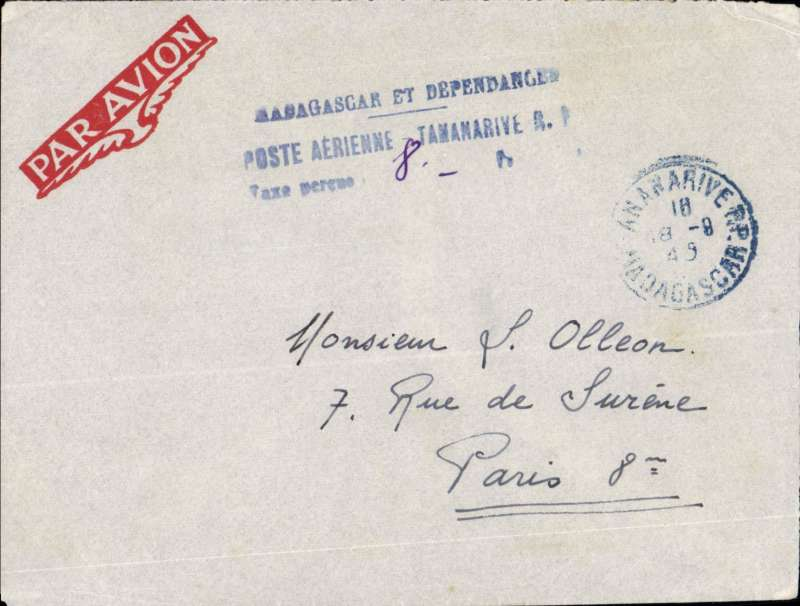 (Madagascar) Blue three line 'Poste aerienne/Tax Percue/ms 8F stampless PC, Tananarive to Paris. Same as postage paid. Likely postal clerk had run ut of stamps. Unusual.