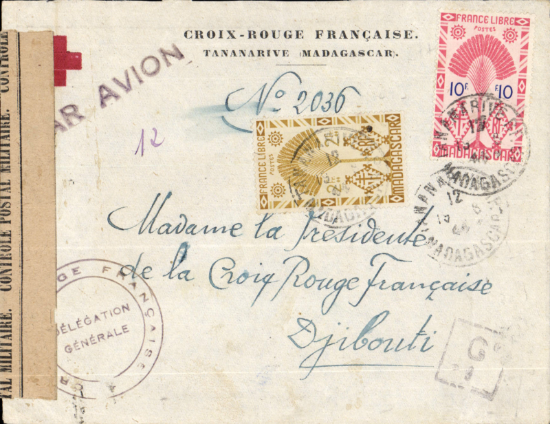(Madagascar) Censored Lignes Aeiennes Militaires (LAM) airmail, Tananarive to Djibouti (French Somali Coast) via Linde, Nairobi, and Mogadishu, Red Cross printed cover franked 12F (4F ordinary +8F air) sealed Madagascar censor tape tied madagascar censor mark, pus two others including black boxed 'G1'