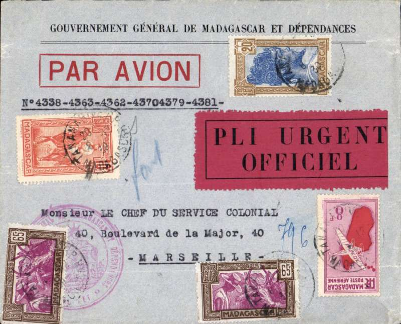 (Madagascar) High franking Official Govt. of Madagascar airmail cover addressed to Chief  of Colonial Service, Tananarive to Marseille, bs 15/12, frnaked 1F30 ordinary and 38F air surcharge (5x4.75 per 5 gms), fine strikes large red govt. handstamps front and verso, large red/black 'Pli Urgent/Officiel' etiquette. Flown by Air Afrique to Algiers, the Air France to Marseille. Attractive and unusual item.
