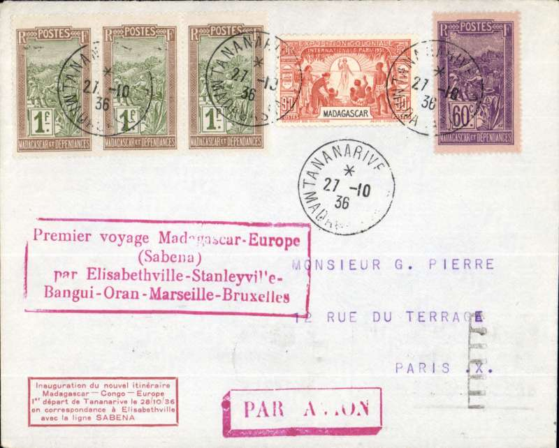 (Madagascar) Tananarive to Paris, bs 5/11, first return flight on accelerated Brussels to Elisabethville service, prinred suvenir cover, F/F cachet, FRANKED 50c ordinary + 4F air.
