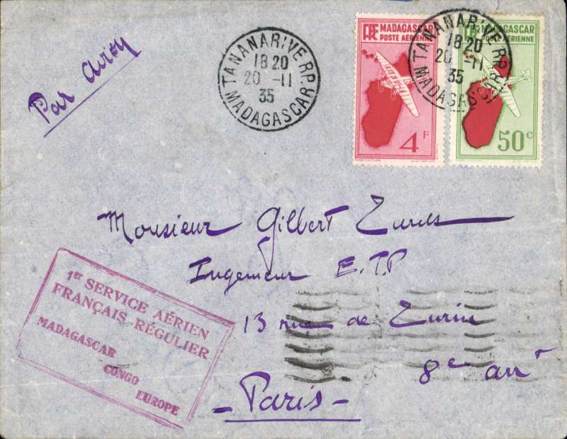 (Madagascar) Tananarive to Paris, bs 5/11, via Marseille Gare Avion 28/11, first return flight SABENA accelerated Brussels-Elisabethville service, airmail cover franked 50 ordinary and 4F air fine strike red framed F/F cachet.