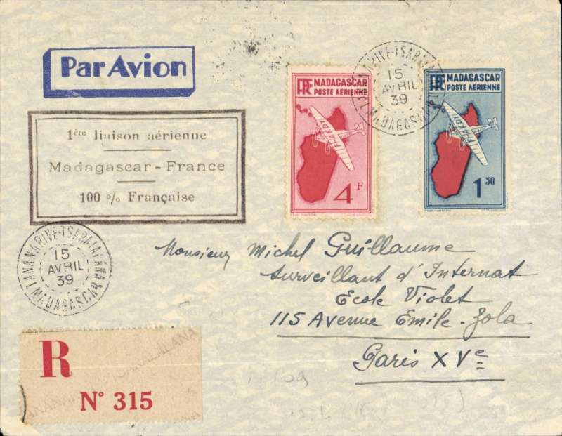 (Madagascar) AIR AFRIQUE first through service Tananarive to Paris, bs 23/4, registered (label) cover franked 90c ordinary, 1F60 registration and 3F air, fine strike black framed F/F cachet