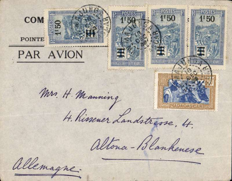 (Scarce and Unusual Routings) TRANS-SAHARA AIRMAIL, Madagascar to Germany, MAJUNGA to ALTONA-BLANKEUESE. Posted  Majunga 18/12, by rail to Tananarive 22/12 for carriage by REGIE MALGACHE to BROKEN HILL where it was transferred to AIR AFRIQUE for carriage to Algiers, then transferred to Air France for carriage to Paris, bs Le Bourget Port Aerien, 30/12, then by train to destination. Printed airmail cover FRANKED 6F25c . Nice item, ex Proud.