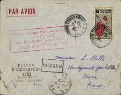 (Madagascar) AIR AFRIQUE, Tananarive to La Fere, France, bs 13/11, carried ON THE FIRST RETURN OF THE ACCELERATED service from Madagascar to Algeria, then transferred to Air France for carriage to Paris. Grey/red airmail cover , red framed 'Premier Voyage Madagascar-Europe (Air Afrique)/ par Elisabethville -Stanleyville-Bangui-Alger -Marseille-Paris', FRANKED 50c ordinary + 3F50 air.
