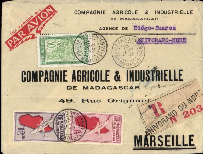(Scarce and Unusual Routings) Anivorano-Nord to Marseille, bs 8/2, via Ambiloes 23/1 transit cds, printed registered (label) cover HIGH FRANKED 18F AIR (6X 3f per 5 gms), 1F20 ordinary, and 1F60 registration fee. Flown AIR AFRIQUE from Tananarive, transit 31/12 cds, to Algiers, then Air France to Marseille bs 8/2. Anivorano-Nord is a small isolated community in the far North. Cover took 9 days to get to Tananarive, by sea and/or road. Uncommon origin, scarce routing, ex Proud.