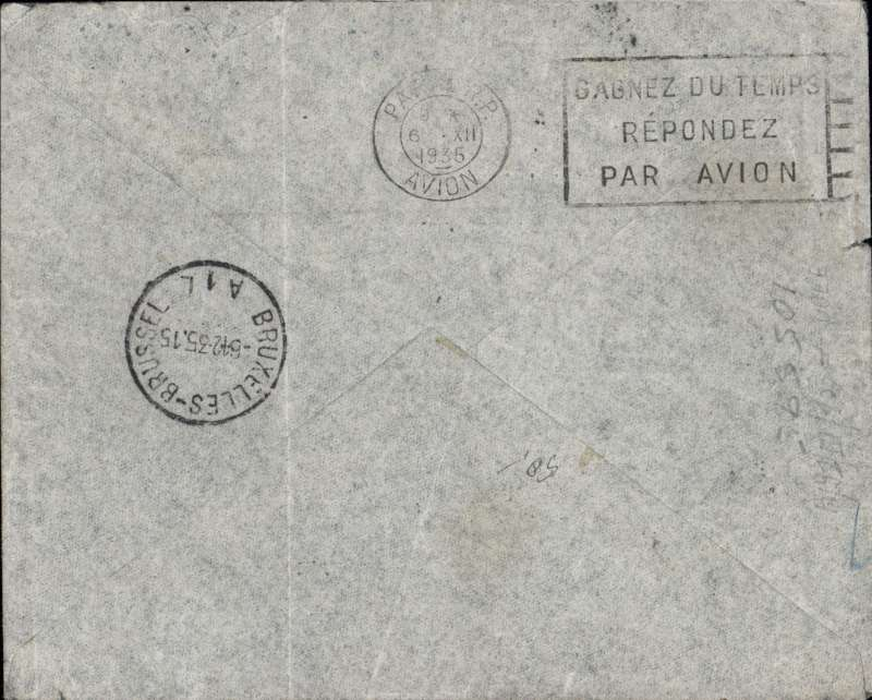 (Madagascar) Underpaid F/F TANANARIVE TO BRUSSELS bs 6/12, carried by REGIE MALAGACHE  to Elisabethville then  SABENA to Brussels, blue/grey souvenir map cover FRANKED 1F50 overseas postage + 6F air. Correct air surcharge should have been 8F (2x 4F per 5 gms). Postage dues of 7F charged, but an extra 5F charged in error so annulled with 'Tax Annulee/Strafort Nietig'cachet.  Flown by Assolant. SCARCE.