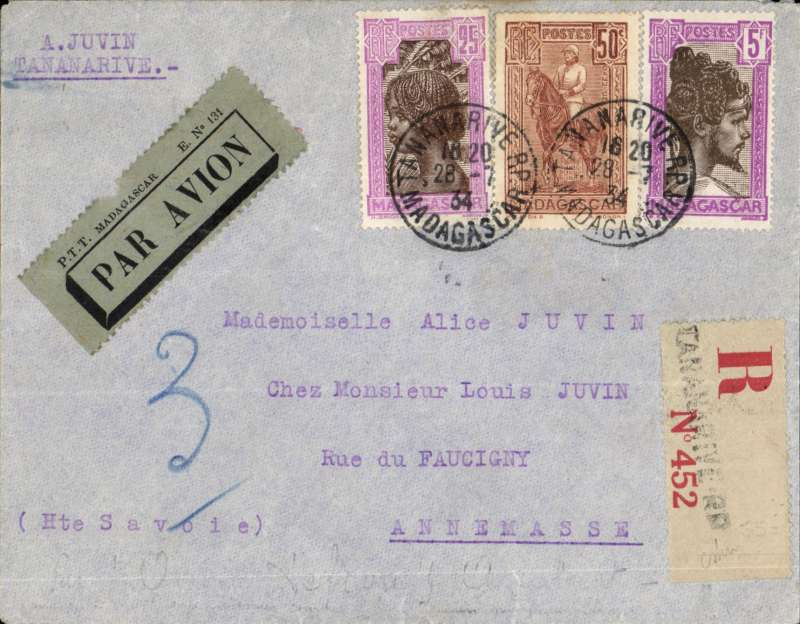 (Scarce and Unusual Routings) Madagascar to France, TANANARIVE to ANNEMASSE. Posted Tananarive 28/7 for carriage on the REGIE MALGACHE FIRST FLIGHT TO BROKEN HILL where it was transferred to IMPERIAL AIRWAYS AFRICA NORTHBOUND SERVICE AN178  departed 2/8 on 'Amalthea', departed Khartoum 3/8 on 'Helena', departed Cairo 6/8 on 'Scipio', and arrived Brindisi 7/8 on 'Sylvanus'. Then on by train to Paris 9/9, and delivered to Annemasse bs 10/8. Registered cover, FRANKED 50c ordinary, 1F25 registration and 4F air . Super item, ex the Ted Proud collection.