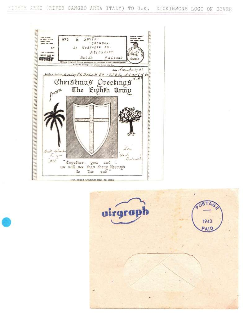 (World War II ) Illustrated Christmas Greetings airgraph with shield with St George's Cross, a palm tree and an olive tree, sent the Eighth Army, Italy, to England, passed by censor 8261 hs. Complete with delivery envelope.
