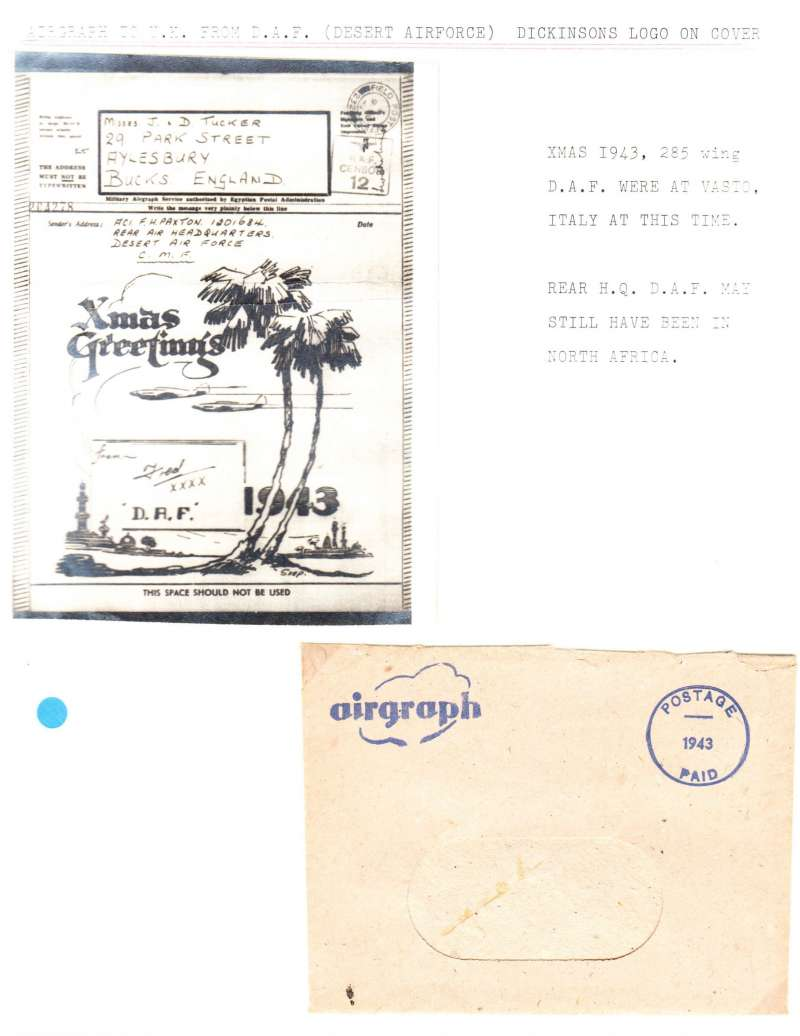 (World War II ) Christmas 1943 Airgraph Illustrated with spitfires flying over palm trees, sent from the Desert Air Force, CMF to England, black boxed RAF censor 12, and Dickinsons logo on cover . Nice item with envelope.