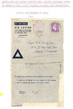 (World War II ) Censored Honour Air Mail Letter franked GB 3d with scarce printed blue triangle from from CMF (Central Mediterranean Force which was the main battle group in North Africa and Italy in 1944 and 1945)  to The 1st Battalion, King's Own Regiment, India. Also crown over shield ' Passed By Censor/No 12860 'hs.