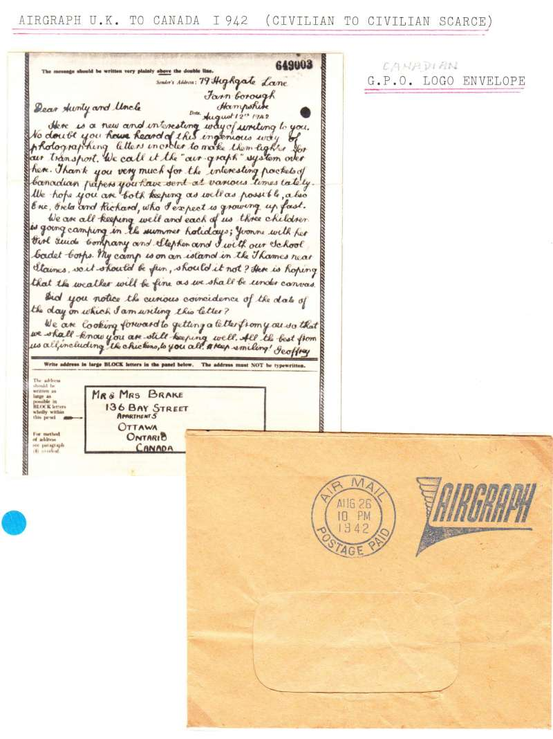 (World War II ) British early Airgraph design, with address panel at  bottom, sent from civilian to civilian, Hampshire England to Ottawa Canada Canada during World War II.  Complete with delivery envelope POA with fine Canada GPO delivery cds..