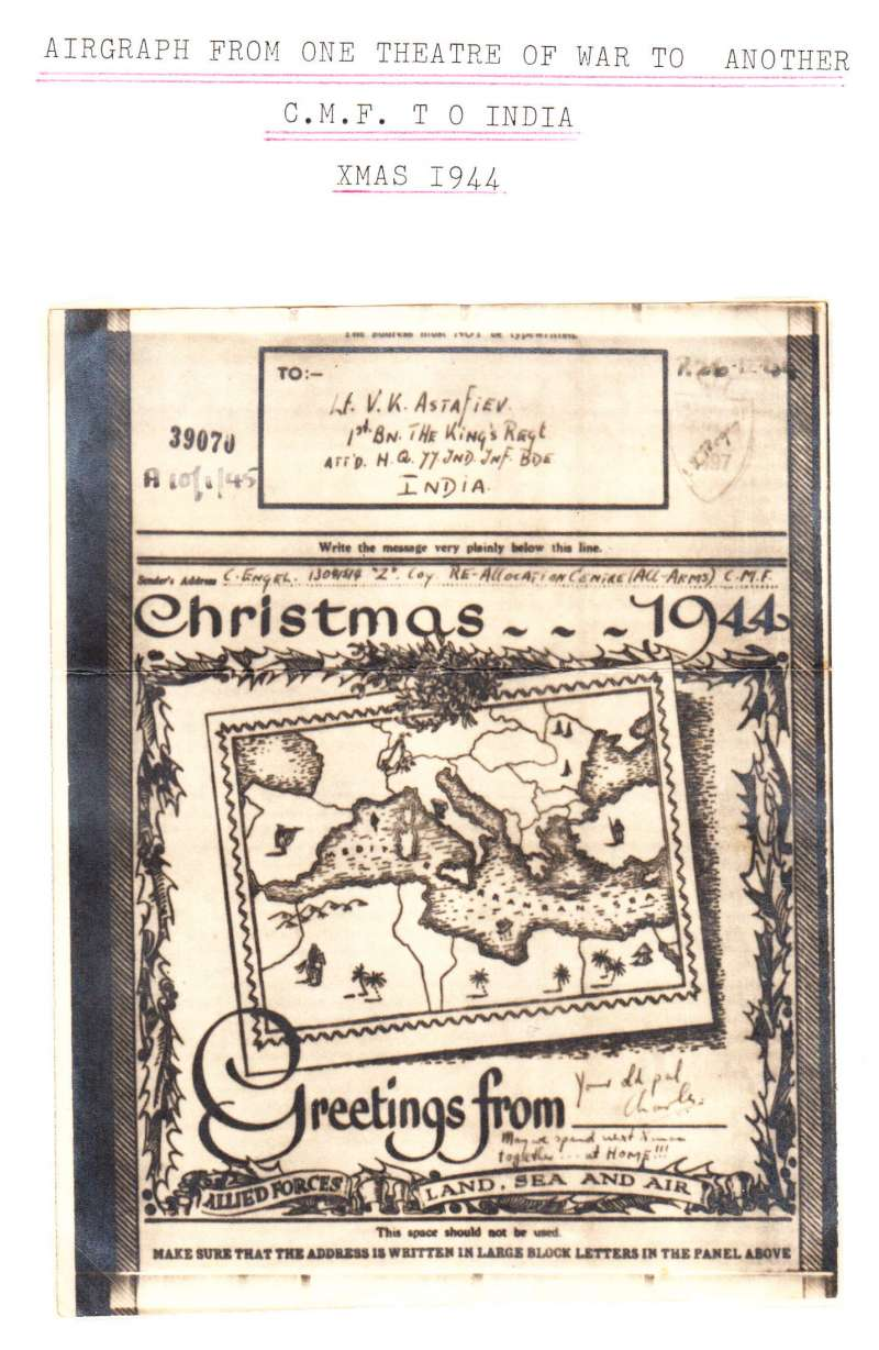 (World War II ) A 1944 Christmas greetings airgraph  with pictorial map of the Arabian Sea sent from one theatre of war to another, from CMF (Central Mediterranean Force which was the main battle group in North Africa and Italy in 1944 and 1945)  to The 1st Battalion, King's Own Regiment, India.