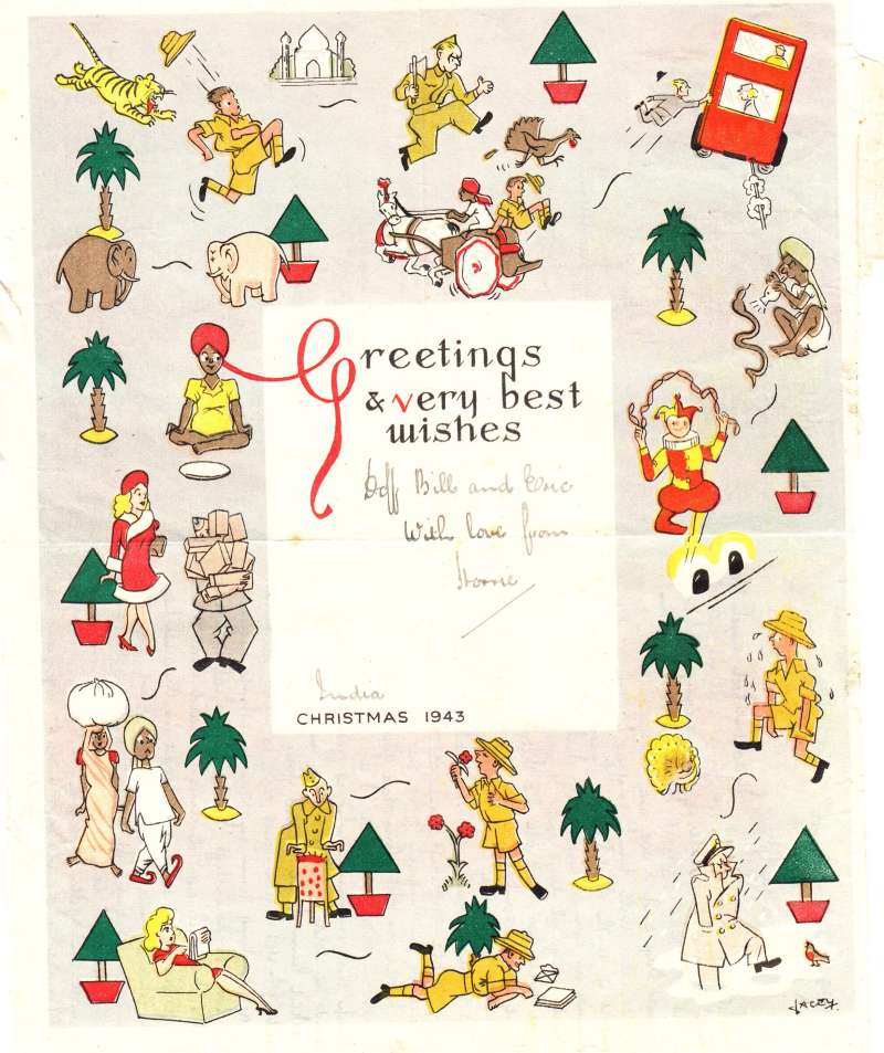 (India) India Christmas 1943 printed coloured 'Xmas Mail On Active Service' airgraph to England, franked 4a undated canc 'RAF Post/India/5' with large star, also signed 'Unit Censor/W370/India' censor mark.