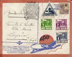 (Netherlands East Indies) KLM 500th flight Bandoeng to Amsterdam, official cachet, b/s 2/12, attractive brown border/cream souvenir cover with blue Fokker silhouette.