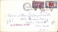 (Scarce and Unusual Routings) Special Delivery airmail, Florida to The Queen Mary', New York, bs 7/4, plain cover franked 6c + 10c Special Delivery, violet 'Special Delivery-Air Mail' hs, cabin number #'B67' added by ship's purser.
