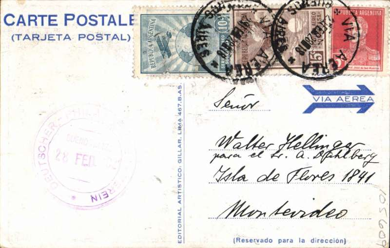 "(Argentina) Compagnie Generale Aeropostale, F/F Buenos Aires to Montevideo, bs 1/3, blue/black/orange PPC commemorating opening of the regular South America/-Europe service from Buenos Aires, showing winged postman and ""Servicio Aeropostal???1 de Marzo de 1928"", franked 5c and 25c airs (airmail rate 5c per gram), canc 'Via Aerea/29 Feb 28/Buenos Aires'. Scarce, only one bag carried to Uruguay."