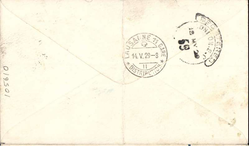 (India) India to Switzerland, CALCUTTA TO LAUSANNE via LONDON, bs London hooded registration 12/5 transit cds, and Lausanne 14/5 arrival cds, World Flyers Half-Way House registered (label) cover franked 10 annas,  Departed Karachi 5/5 on IMPERIAL AIRWAYS WESTBOUND SERVICE IW5 on C. Cairo, arriving Tobruk 9/5, on to Athens and Naples 10/5 on C. Athens, by rail from Genoa to Basle, then by C.Pretoria to Croydon 12/5. Should have been offloaded at Basle but flown on to London, then surface to final destination. Inetesting.